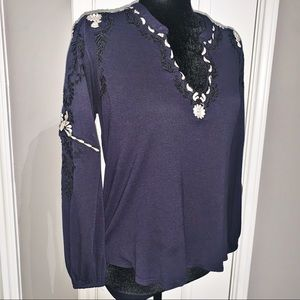 Lucky Brand Embroidered Blouse Top